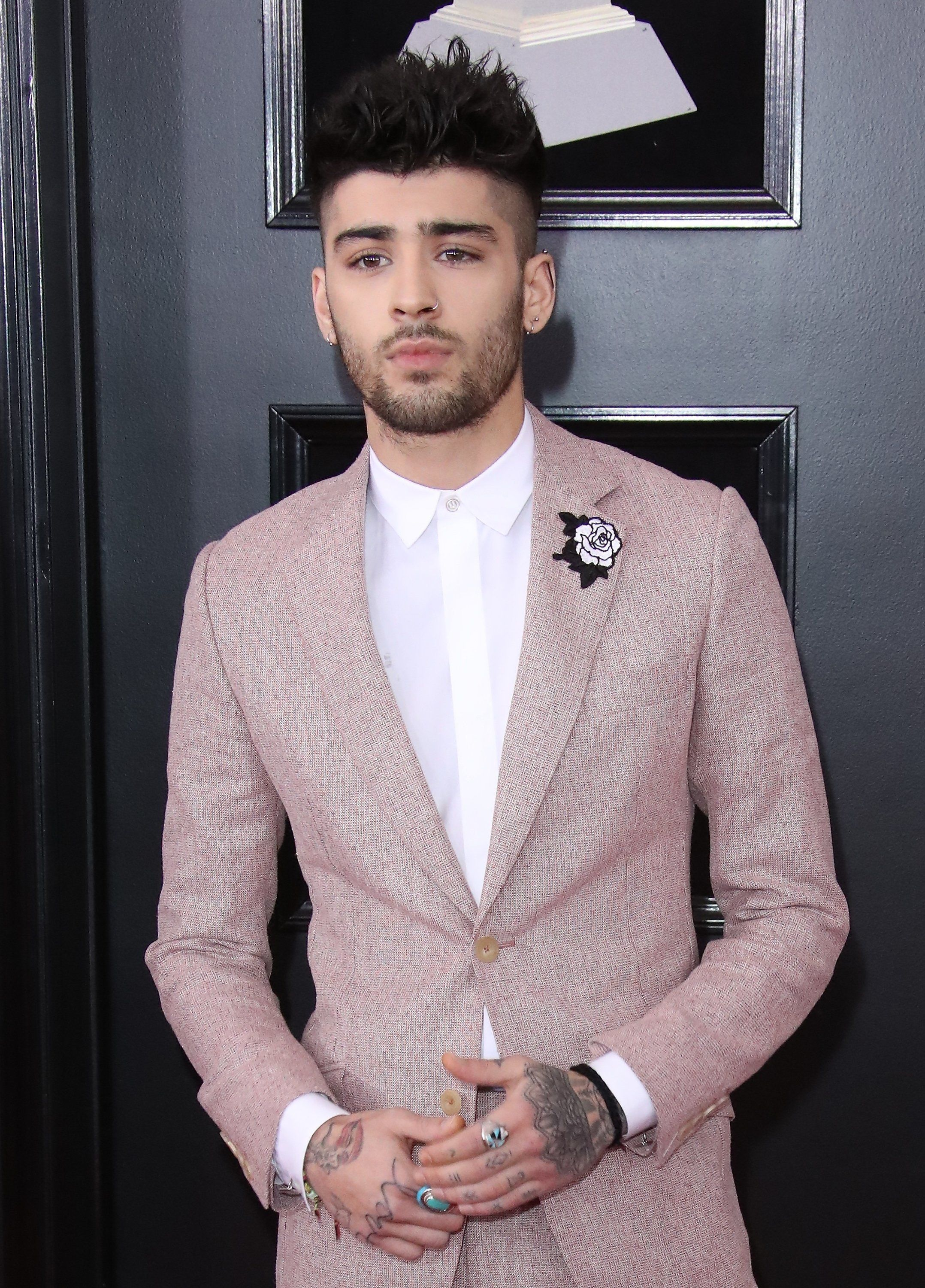 NEW YORK, NY - JANUARY 28: Zayn Malik arrives at the 60th Annual GRAMMY Awards at Madison Square Garden on January 28, 2018 in New York City. (Photo by Dan MacMedan/WireImage)