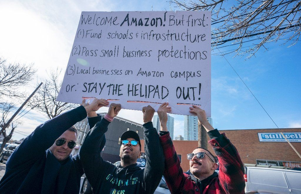 New Yorkers rallied against Amazon's plans to locate one of its two new headquarters in Queens, New York, which many fear wil