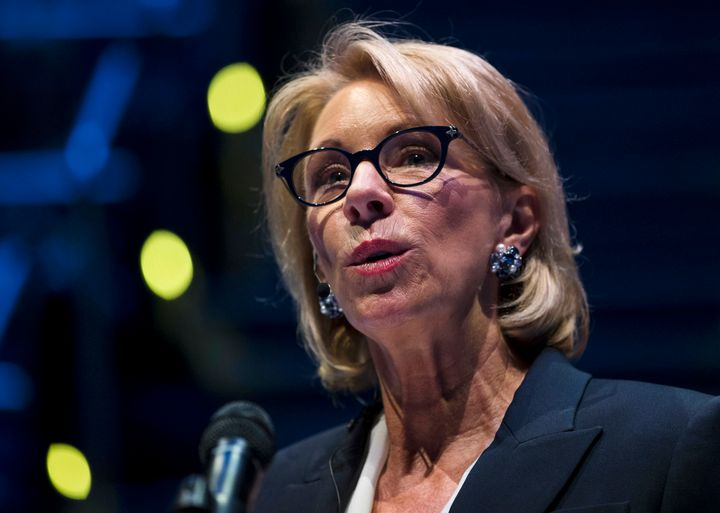 Education Secretary Betsy DeVos speaks during a student town hall at National Constitution Center in Philadelphia, Monday, Se
