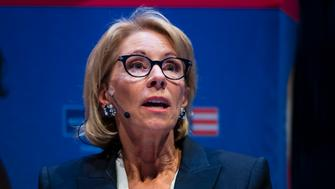 Education Secretary Betsy DeVos speaks during a student town hall at the National Constitution Center in Philadelphia, Monday, Sept. 17, 2018. (AP Photo/Matt Rourke)