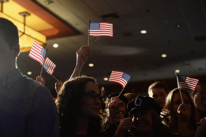 Supporters celebrate Republican Josh Hawley's victory over Sen. Claire McCaskill (D) in Missouri.
