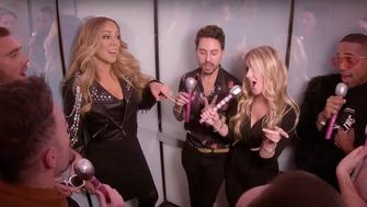"Mariah Carey joined a group of fans on MTV's ""TRLevator"" on Tuesday."