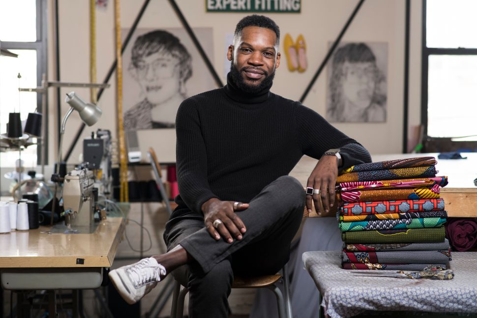 Reuben Reuel in his womenswear studio in the Williamsburg section of Brooklyn.