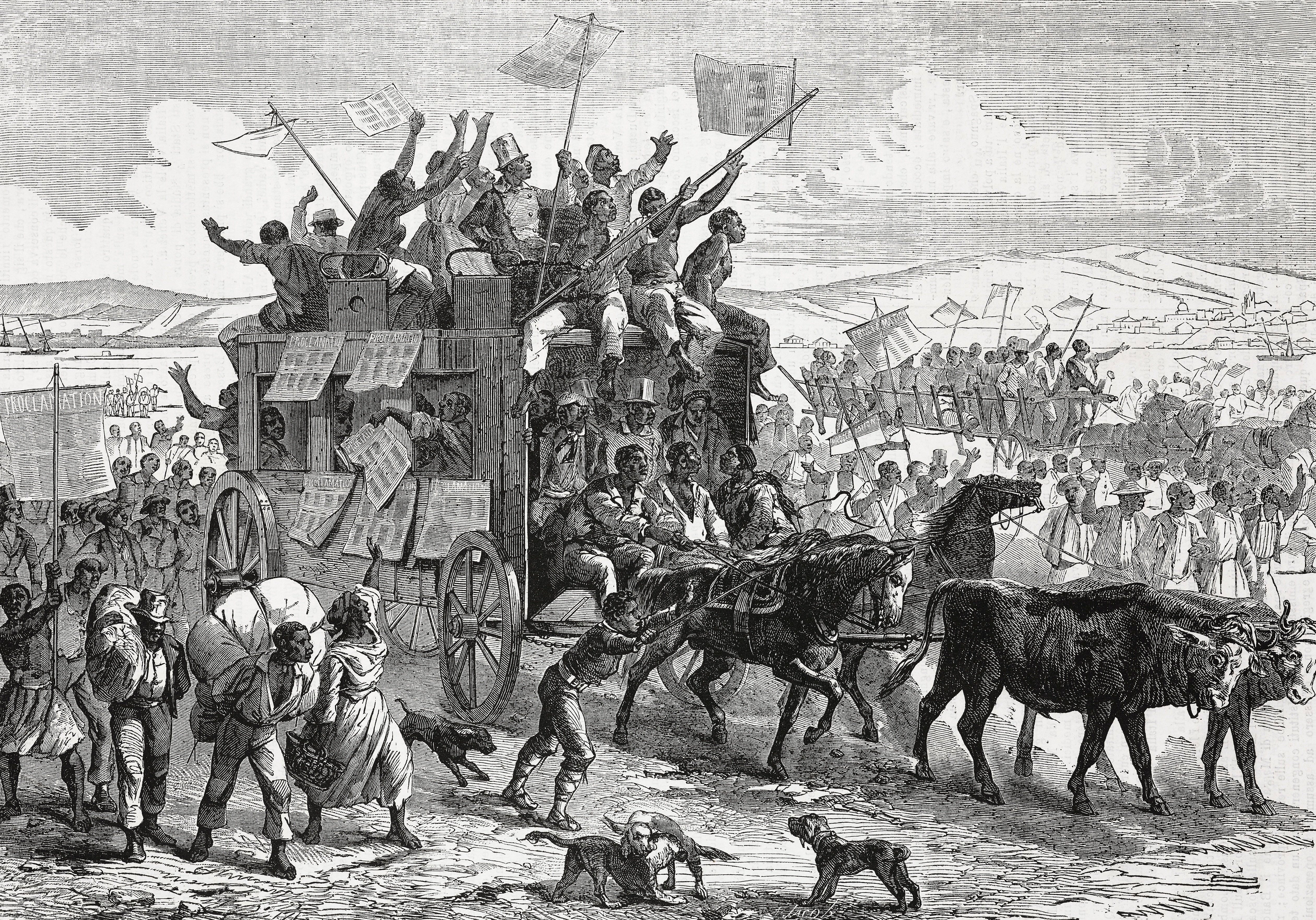 An 1865 illustration of freed African Americans traveling north waving copies of the Emancipation Proclamation.