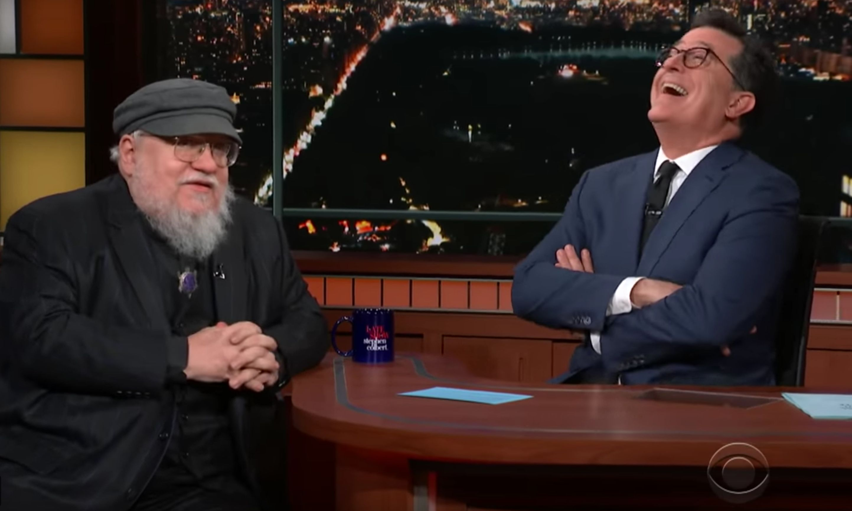 "George R.R. Martin's earliest inspiration for ""Game Of Thrones"" makes Stephen Colbert crack up."