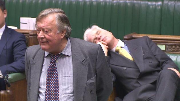 Sir Desmond Swayne sleeps during Ken Clarke's
