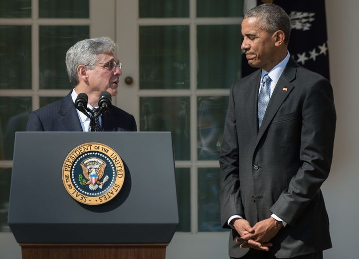 US Supreme Court nominee Merrick Garland looks at President Barack Obama after he announced his nomination in the Rose Garden