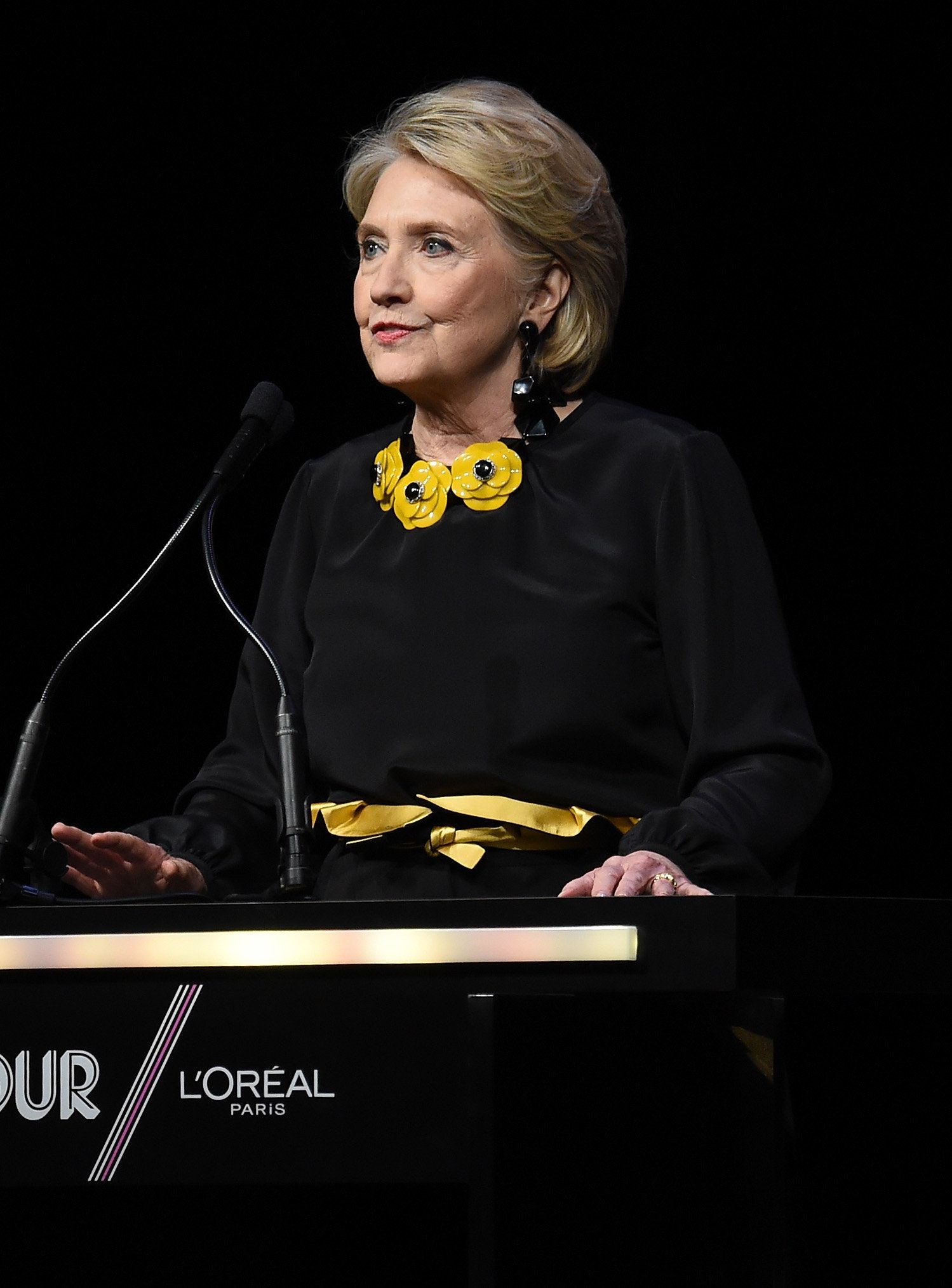 NEW YORK, NY - NOVEMBER 12:  Hillary Clinton speaks onstage at the 2018 Glamour Women Of The Year Awards: Women Rise on November 12, 2018 in New York City.  (Photo by Jamie McCarthy/Getty Images for Glamour)