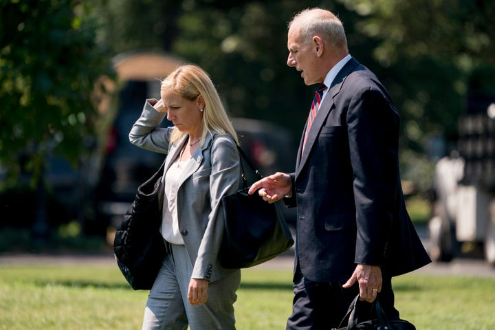 Secretary of Homeland Security Kirstjen Nielsen and White House chief of staff John Kelly are two of several senior administr