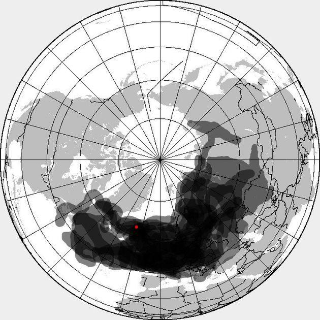 2010년 당시 아이슬란드 화산에서 분출된 화산재가 날아간