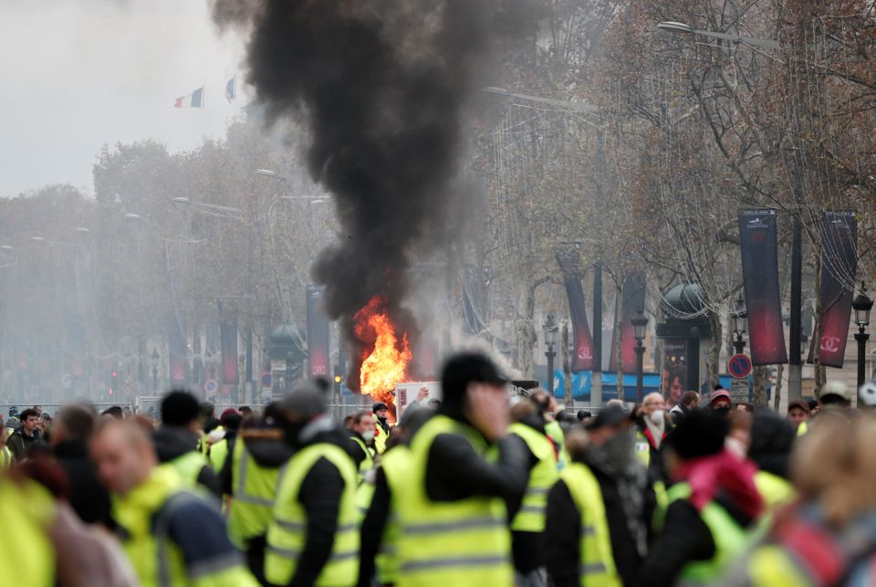 Protestors wore hi-vis vests, which drivers in France are legally required to carry in their