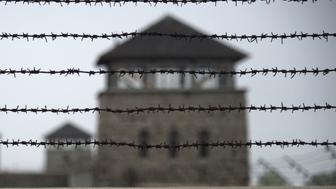 TO GO WITH AFP STORY BY NINA LAMPARSKI A barbed wire fence is pictured at the former Nazi concentration camp Mauthausen, northern Austria on April 28, 2015. AFP PHOTO / JOE KLAMAR        (Photo credit should read JOE KLAMAR/AFP/Getty Images)