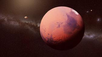 artist's interpretation of the planetary system of the red planet Mars