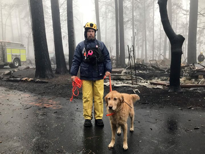 Eric Darling and his dog are part of a search team from Orange County, California. Theirs is one of several teams conducting