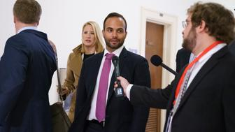 George Papadopoulos, the former Trump campaign adviser who triggered the Russia investigation, took to media as he arrives for his first appearance before congressional investigators, on Capitol Hill in Washington, Thursday, Oct. 25, 2018. (AP Photo/Carolyn Kaster)