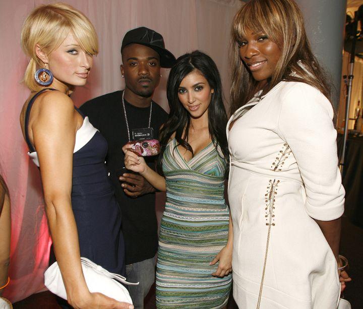 Paris Hilton, Ray J, Kim Kardashian and Serena Williams at a T-Mobile Sidekick 3 launch party.