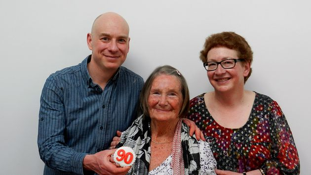 Joan Blass with her daughter Daphne Franks and son Michael Blass at her 90th birthday