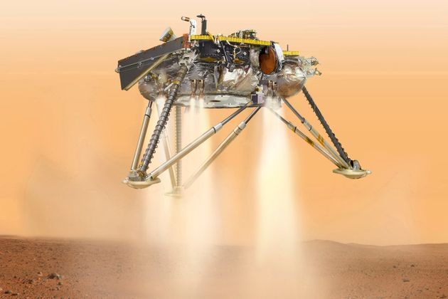 This illustration shows NASA's InSight lander about to touch down on the surface of