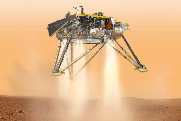 This illustration shows NASA's InSight lander about to touch down on the surface of Mars.