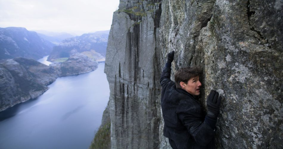 """The derring-do of Scientology's patron saint should have grown stale now that """"Mission: Impossible"""" has seen six spotty installments. Somehow, the opposite happened. In a dazzling long take, Tom Cruise (or Ethan Hunt, rather) parachutes from an aircraft 25,000 feet in the air, the camera plummeting alongside him — and that's just the beginning. Christopher McQuarrie stares other blockbuster directors in the face, daring them to conjure half the integrity he does when staging action sequences. In today's CGI malaise, rarely is big-screen frenzy this crisp. And rarely does it include Angela Bassett making nuclear commands sound like Shakespearean verse. If there's such a thing as Hollywood tentpole nirvana, it looks like"""
