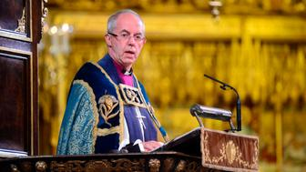 Archbishop of Canterbury Justin Welby makes an address during a National Service to mark the centenary of the Armistice at Westminster Abbey, London, Archbishop of Canterbury Justin Welby makes an address during a National Service to mark the centenary of the Armistice at Westminster Abbey, London, Sunday November 11, 2018. (Paul Grover/Pool photo via AP)