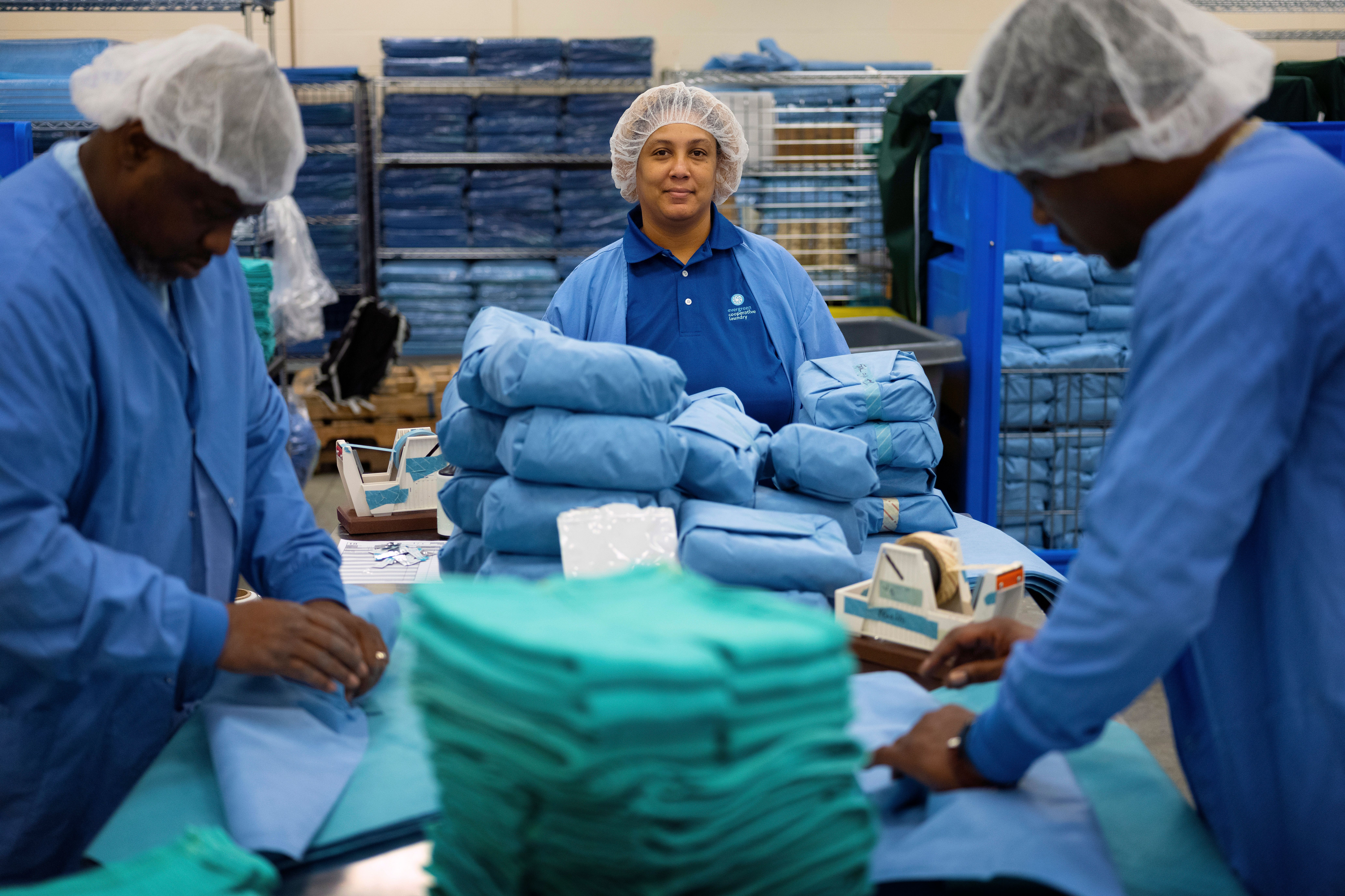 Assignment #1272 After serving 4.5 years in prison (C) Tymika Thomas biggest fear was checking that felony box when applying for a job but now Thomas is a supervisor in the surgical unit at Evergreen Cooperative Laundry, located on Cleveland's East side.  (Michael McElroy/Huffington Post)