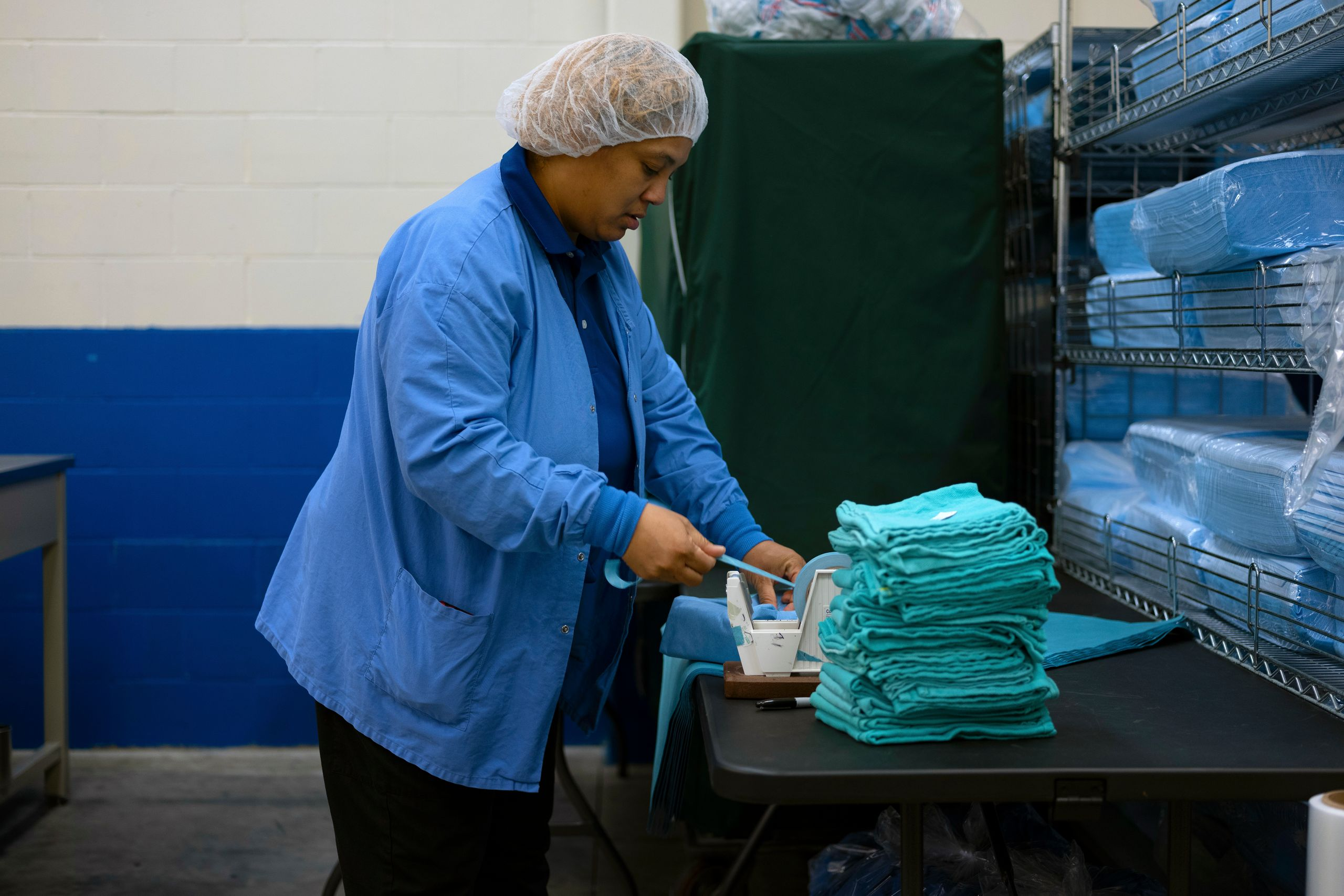 Tymika Thomas runs a crew that prepares packs of surgical linen for the Cleveland Clinic, the world-renowned hospital ne