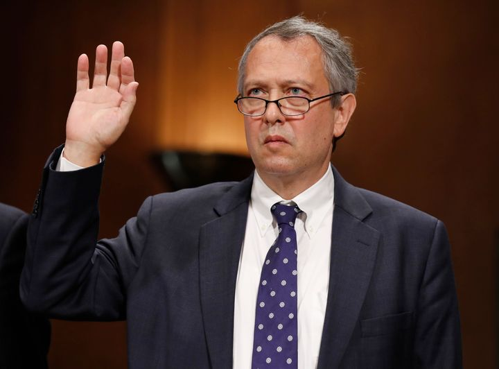 Thomas Farr is sworn in during a Senate Judiciary Committee hearing on his nomination to be a district judge on the United St