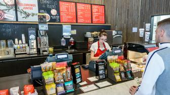 The Starbucks Coffee counter at Galerias Pacifico. (Photo by: Jeffrey Greenberg/UIG via Getty Images)