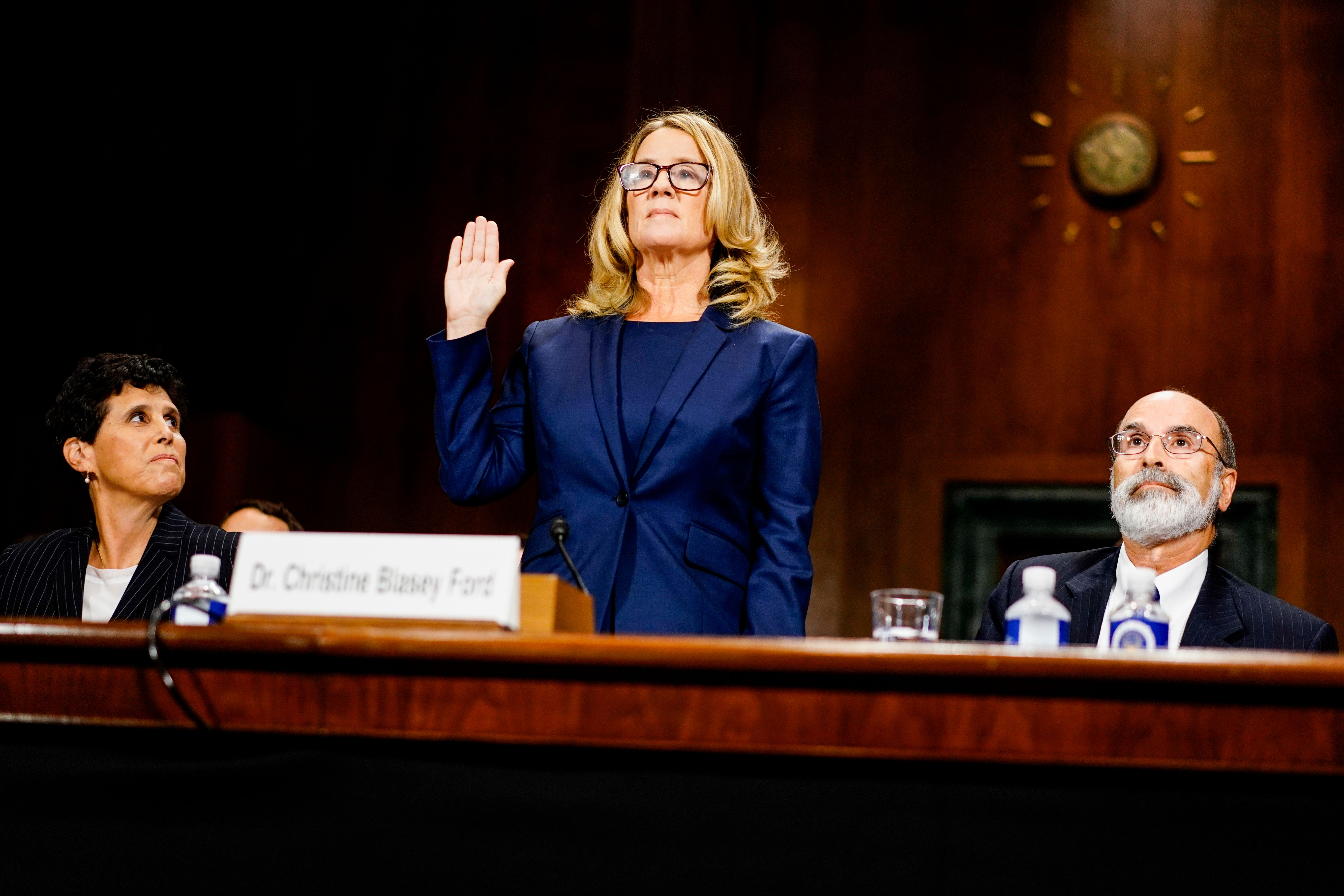WASHINGTON, DC - SEPTEMBER 27: Christine Blasey Ford swears in at a Senate Judiciary Committee hearing on Thursday, September 27, 2018 on Capitol Hill. (Melina Mara/Pool/The Washington Post via Getty Images)
