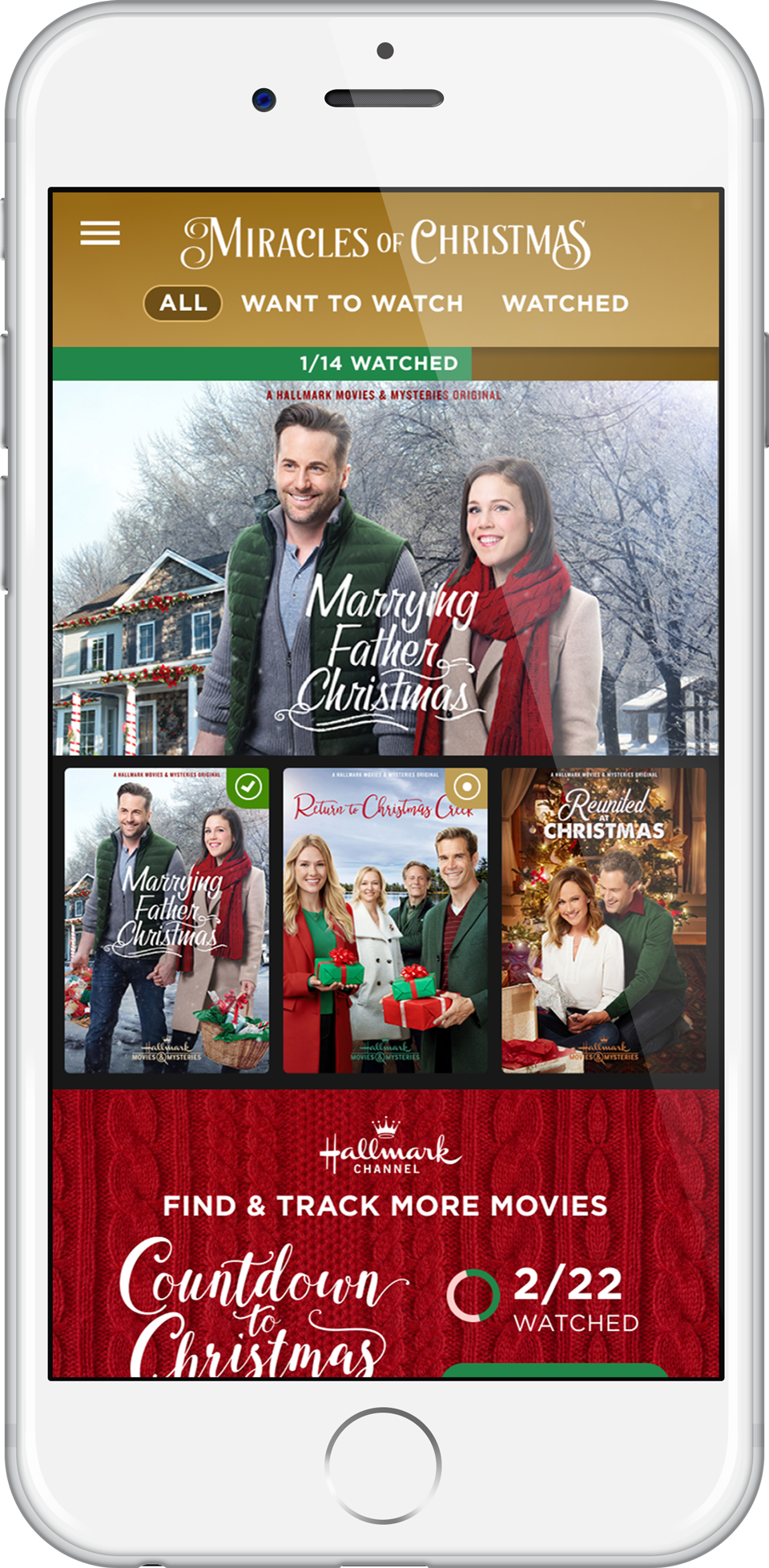 Hallmark's Countdown to Christmas Movie Checklist App lets holiday movie lovers set alerts so they don't miss any of the festive films.
