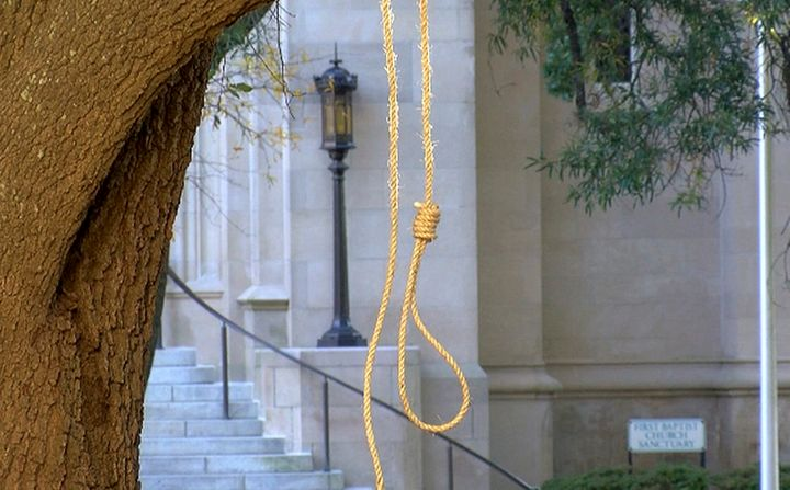 In this photo provided by WLBT-TV, a noose hangs on a tree on the state capitol grounds in Jackson, Mississippi, on Nov. 26,