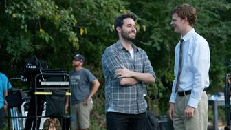 "Author Garrard Conley and actor Lucas Hedges on the set of Joel Edgerton's ""Boy Erased."""