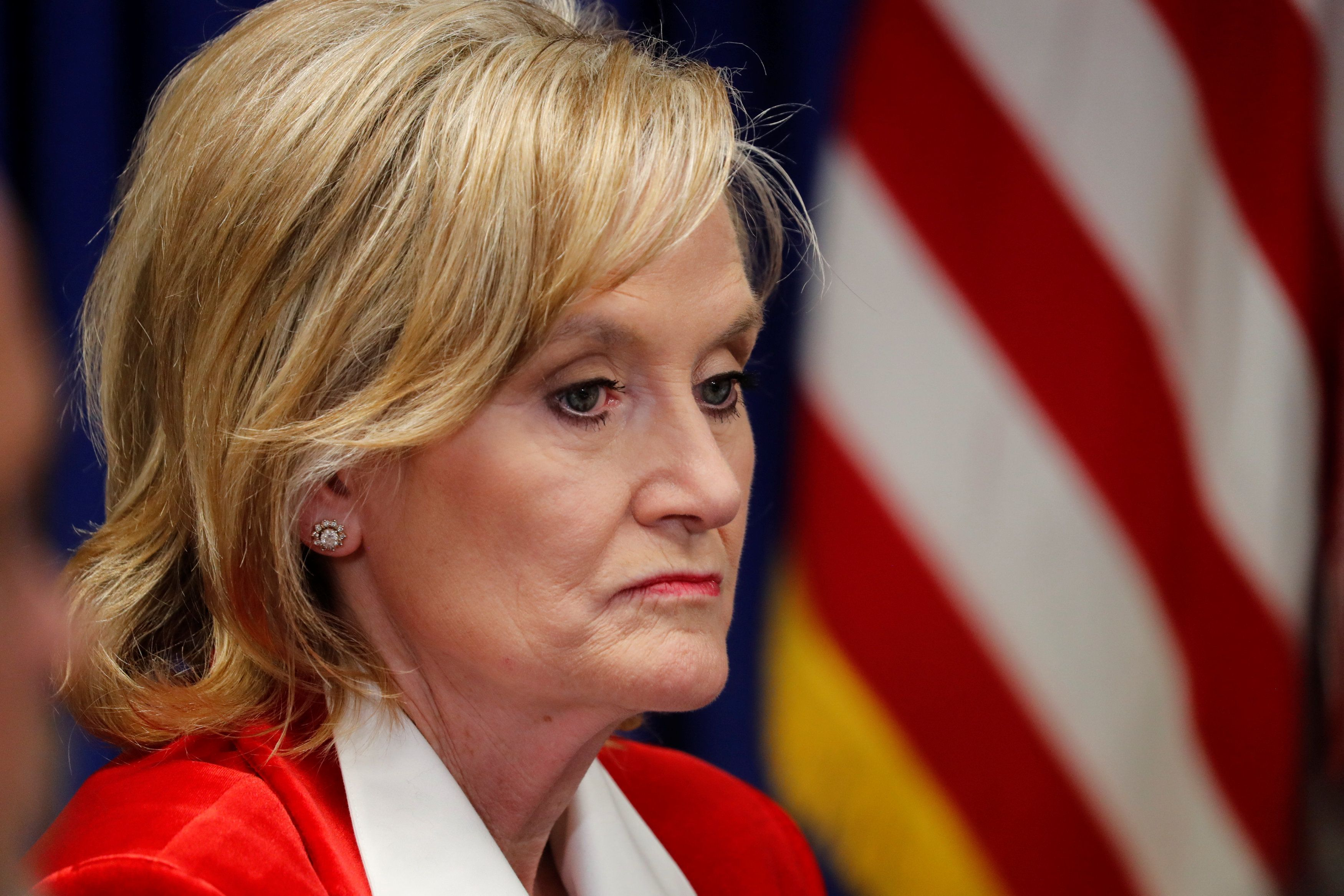 Republican U.S. Senator Cindy Hyde-Smith participate in a roundtable discussion on the FIRST STEP Act, in Gulfport, Mississippi, U.S., November 26, 2018.   REUTERS/Kevin Lamarque