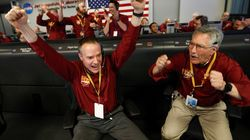 NASA Team Celebrates As They Land New Spacecraft On