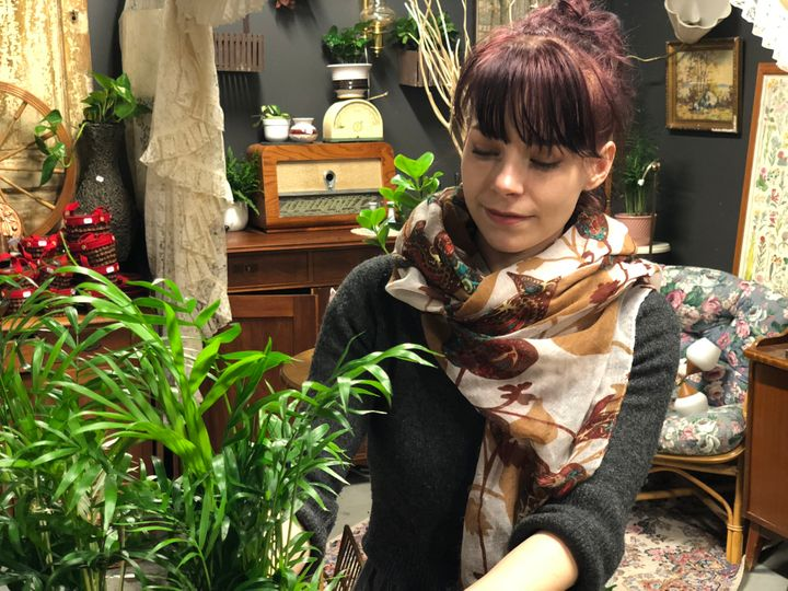 Maria Larsson sells homeware and plants in the mall.
