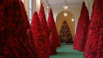 "Topiary trees line the East colonnade during the 2018 Christmas Press Preview at the White House in Washington, Monday, Nov. 26, 2018. Christmas has arrived at the White House. First lady Melania Trump unveiled the 2018 White House holiday decor on Monday. She designed the decor, which features a theme of ""American Treasures."" (Photo: Carolyn Kaster/AP)"