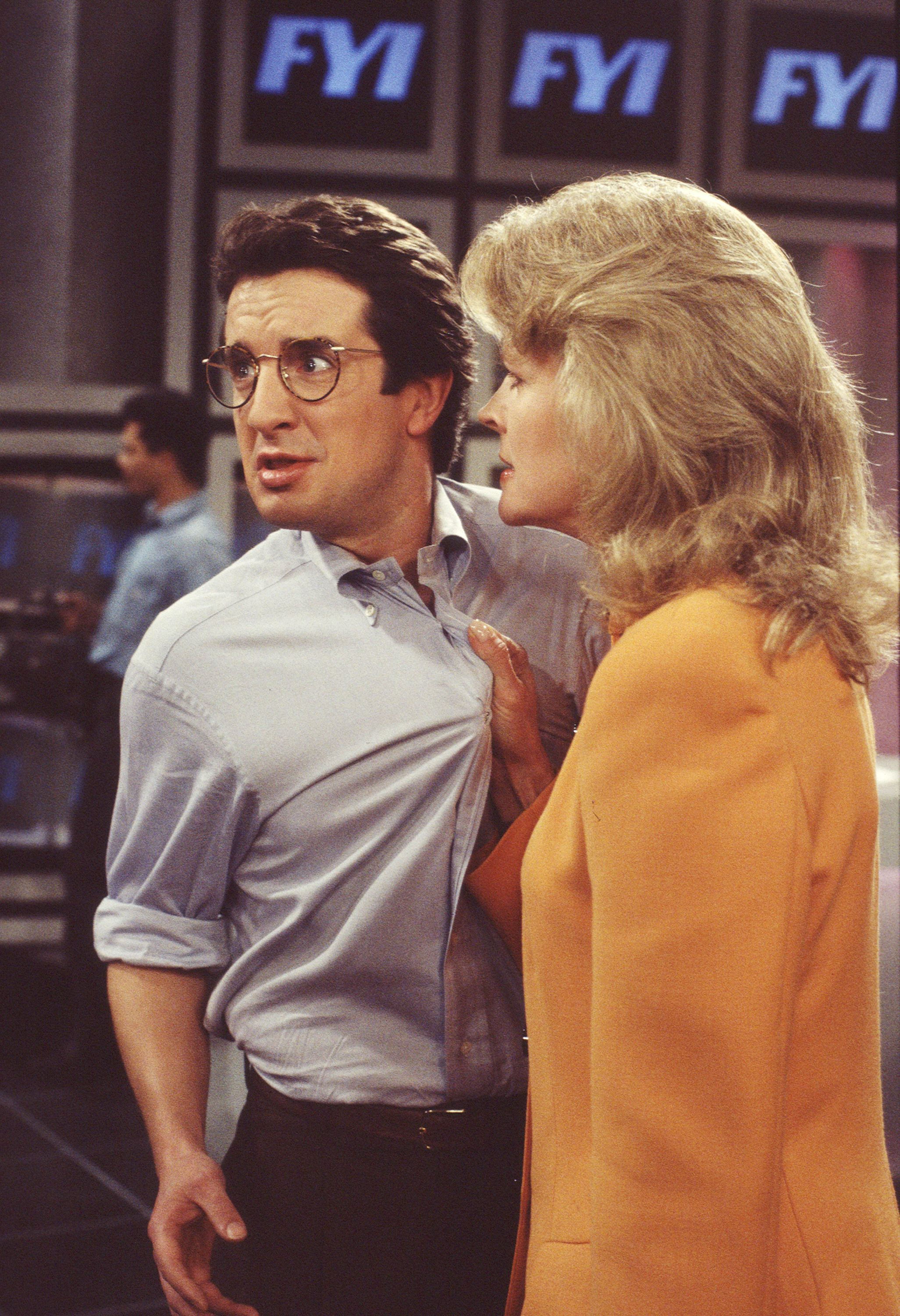LOS ANGELES - JANUARY 14: MURPHY BROWN. Grant Shaud as Miles Silverberg and Candice Bergen as Murphy Brown. Image dated January 14, 1993. (Photo by CBS via Getty Images)