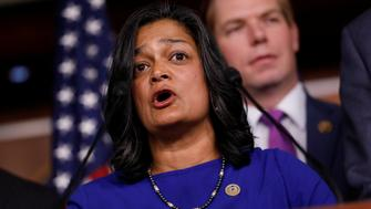 Rep. Pramila Jayapal (D-WA) speaks about recent revelations about President Donald Trump's involvement with Russia on Capitol Hill in Washington, D.C., U.S. May 17, 2017.  REUTERS/Aaron P. Bernstein