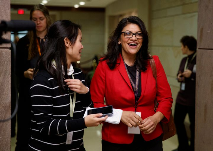 Rep.-elect Rashida Tlaib (D-Mich.) walks with a reporter on Capitol Hill on Nov. 15, 2018. Tlaib is seeking a spot on the Hou