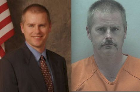 Eric Krieg,pictured left and right, admitted to mailing a pipe bomb that injured a pregnant postal worker last year.