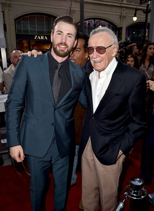 Chris Evans and executive producer Stan Lee attend the premiere of Marvel's