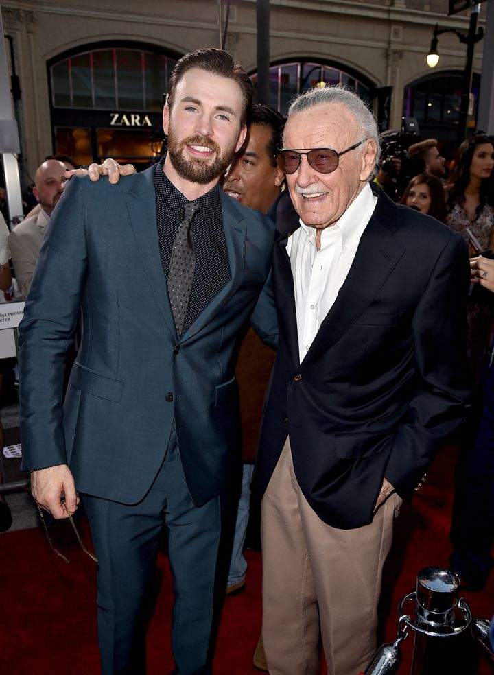"Chris Evans and executive producer Stan Lee attend the premiere of Marvel's ""Captain America: Civil War"" on April 12, 2016, i"