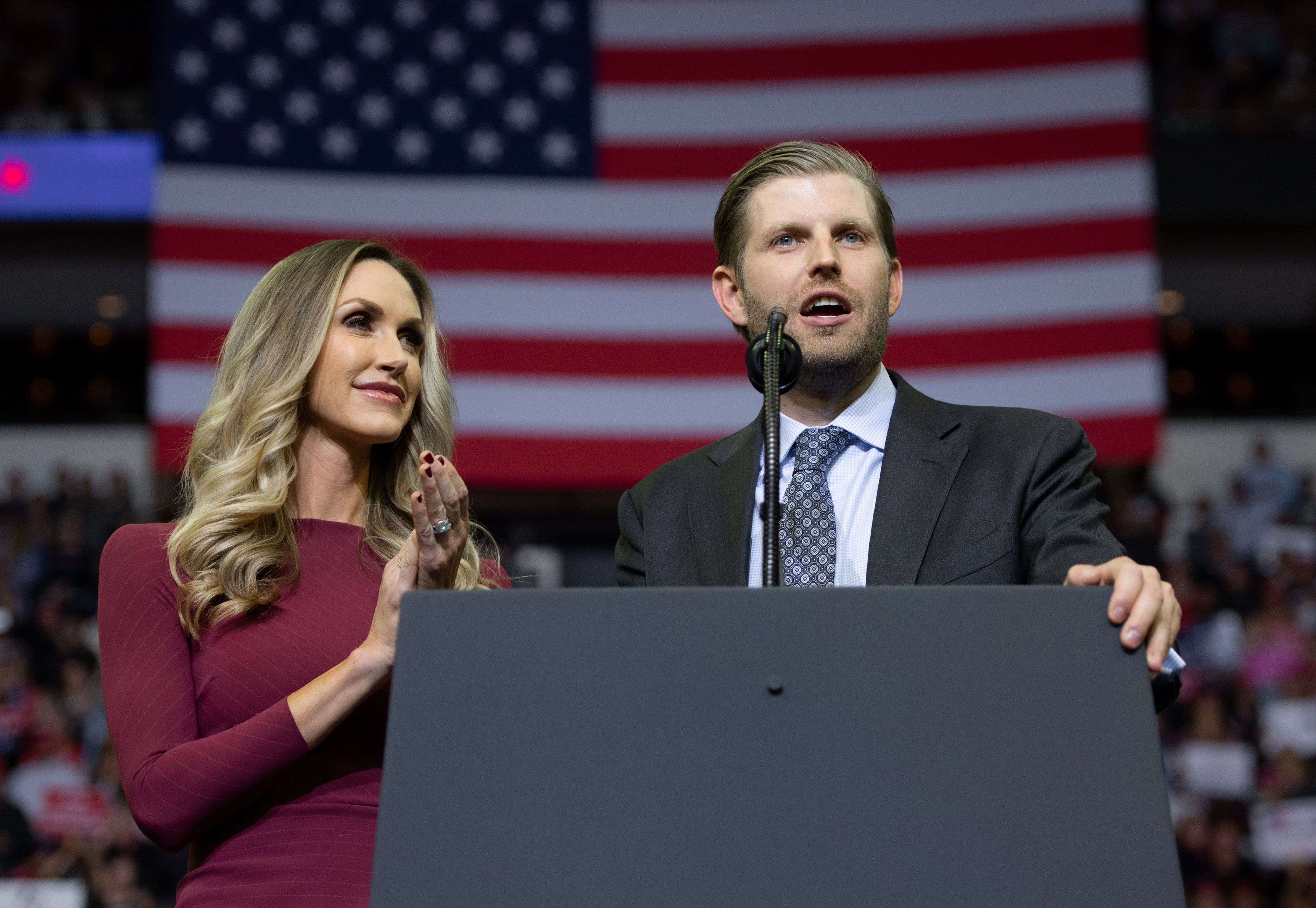 Eric and Lara Trump speak during a campaign rally hosted by US President Donald Trump at the Toyota Center in Houston, Texas, October 22, 2018. (Photo by SAUL LOEB / AFP)        (Photo credit should read SAUL LOEB/AFP/Getty Images)
