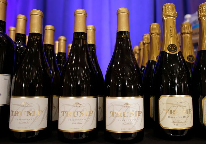 A pack of Trump Chardonnay bottles sit on a table in 2016 ...