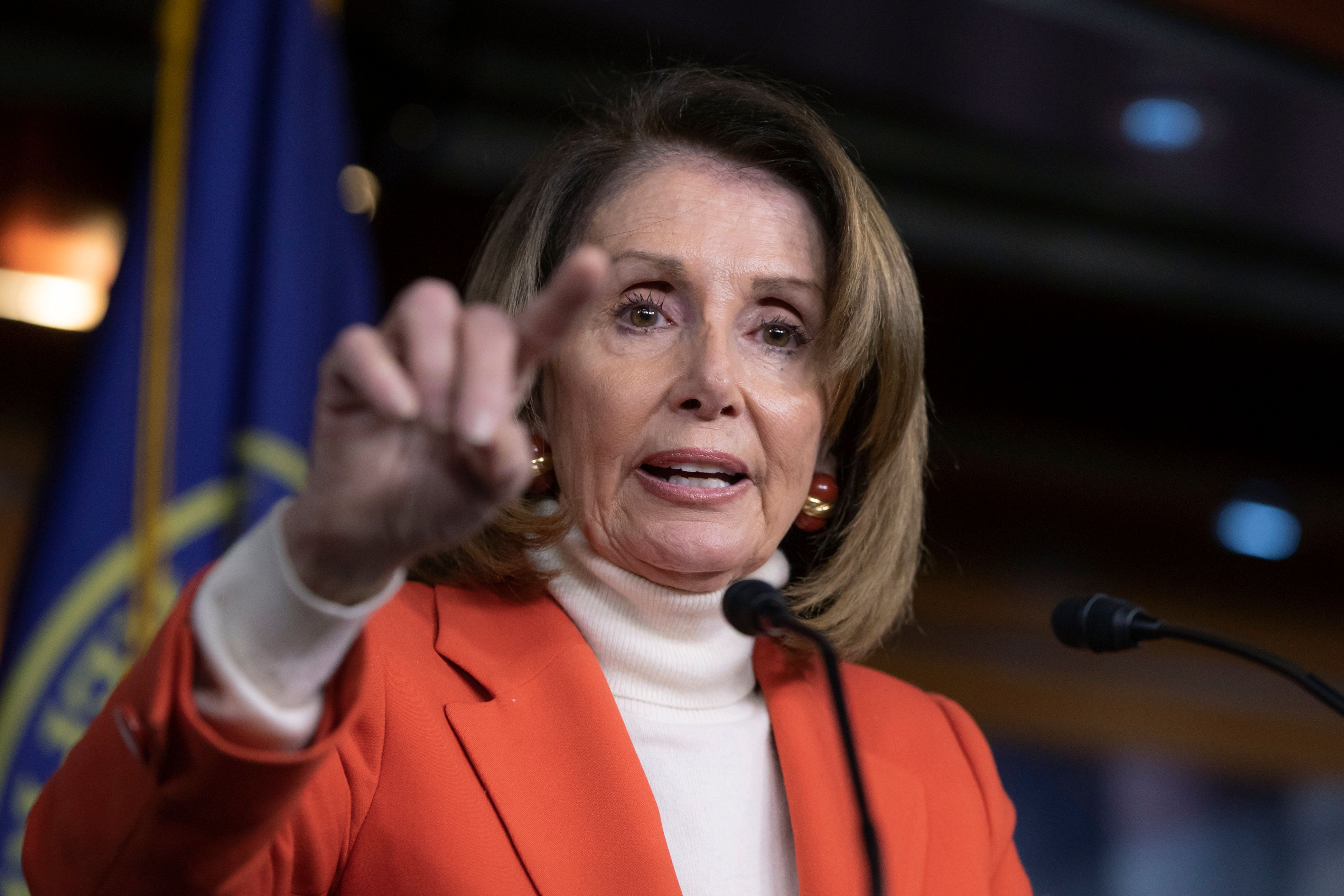 In this Nov. 15, 2018 file photo, House Minority Leader Nancy Pelosi, D-Calif., talks to reporters during a news conference at the Capitol in Washington. Pelosi appears to be having some success shrinking the ranks of Democratic lawmakers opposing her bid to serve as the next speaker of the House. Rep. Brian Higgins of upstate New York said Wednesday he will now support Pelosi after earlier signing on to a letter opposing her bid. One day earlier, Marcia Fudge of Ohio announced she would back Pelosi after earlier flirting with the idea of running for the position herself.  (AP Photo/J. Scott Applewhite)