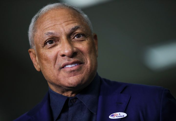 RIDGELAND, MS - NOVEMBER 27: Democratic candidate for U.S. Senate Mike Espy speaks to reporters after voting at a polling pla