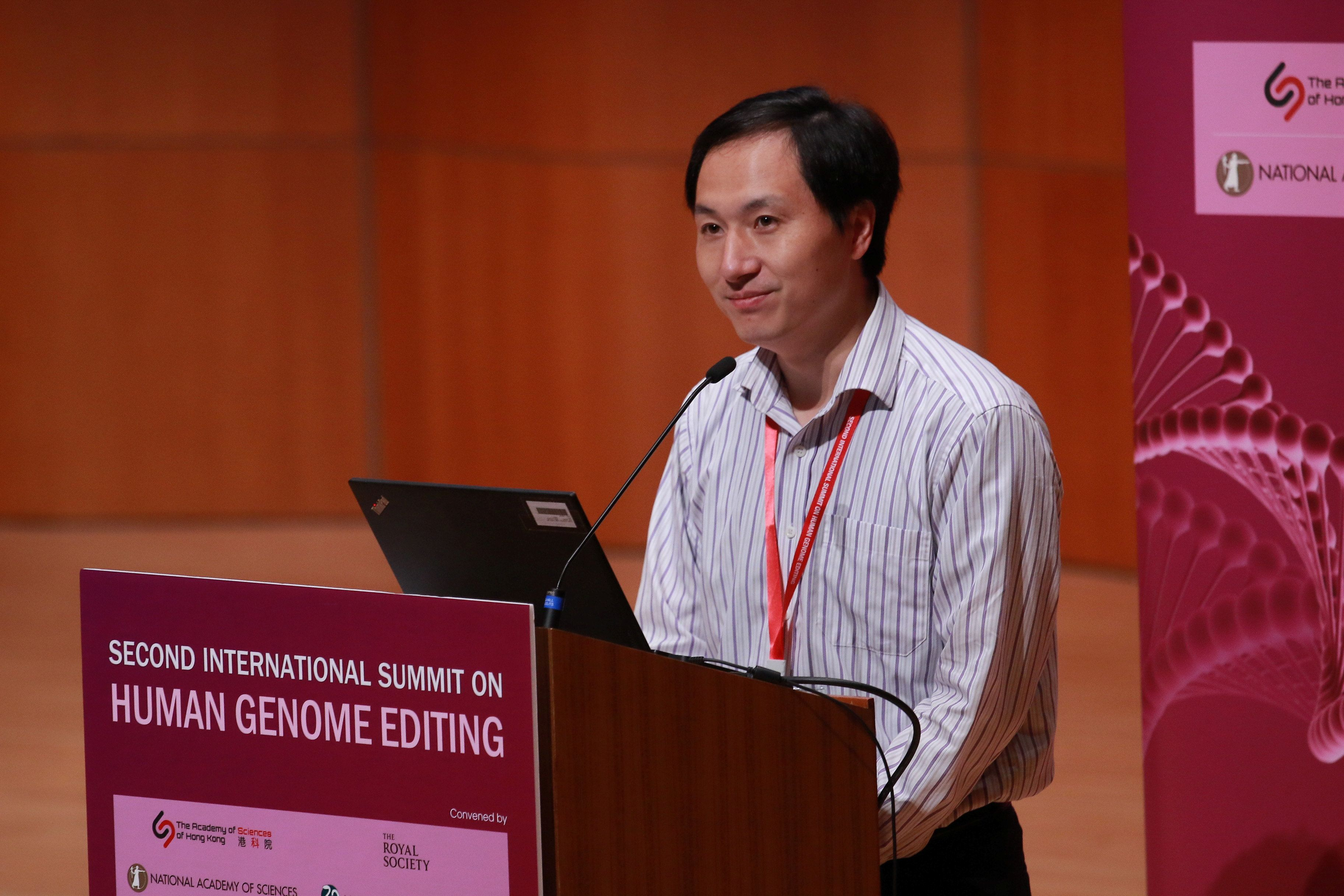 Scientist He Jiankui attends the International Summit on Human Genome Editing at the University of Hong Kong in Hong Kong, China November 28, 2018. REUTERS/Stringer  ATTENTION EDITORS - THIS IMAGE WAS PROVIDED BY A THIRD PARTY. CHINA OUT.