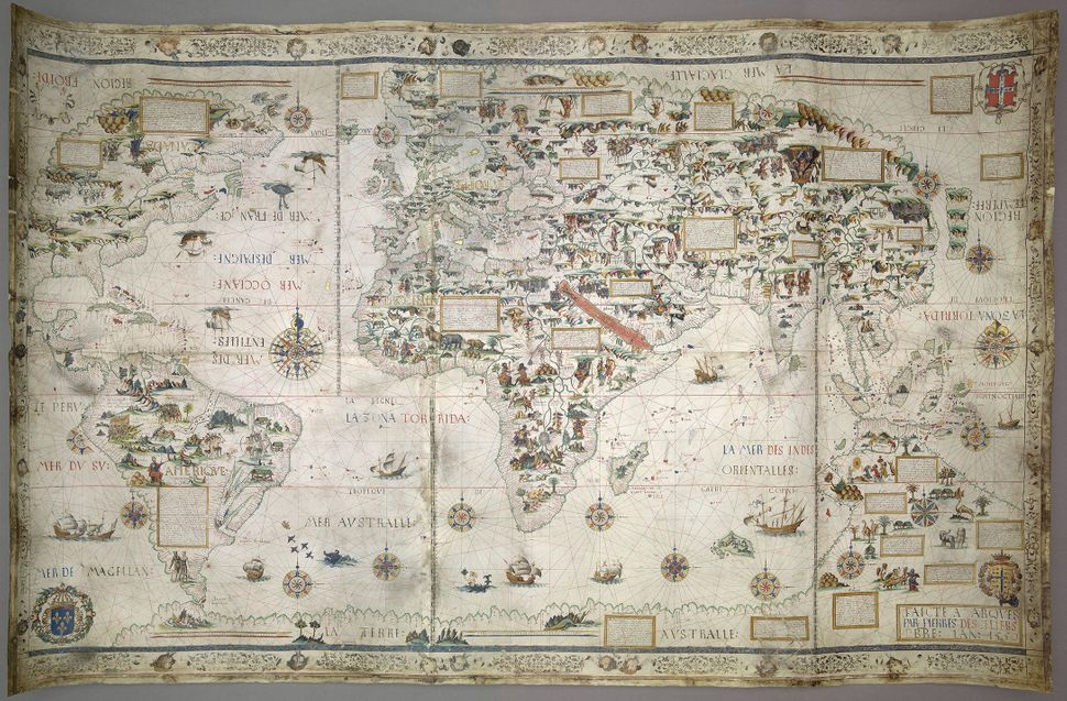 The world as Francis Drake knew it, before his great voyages. Pierre Desceliers' manuscript planisphere of 1550 bears t