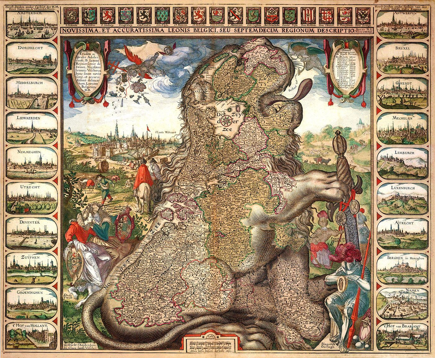 The Sitting Leo Belgicus, 1611, by the Dutch mapmaker Claes Janszoon Visscher. Only two copies are known of this edition – one of the rarest and most beautiful of the seventeenth century. Credit: Sanderus Antiquariaat.